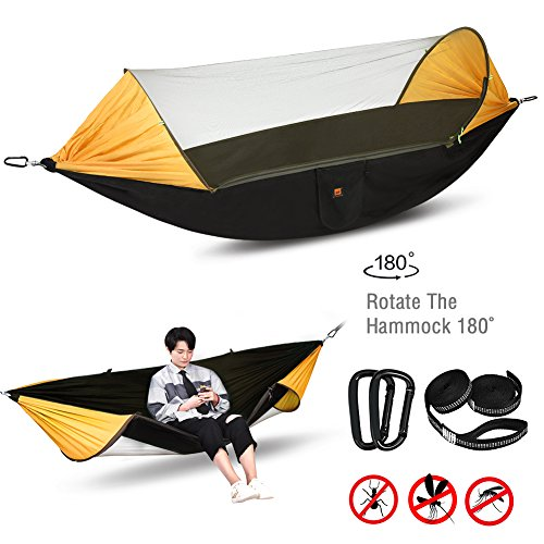 Lisuu Camping Hammock,2 Person Camping Hammock with Mosquito Net,For Indoor,Outdoor, Hiking, Camping, Backpacking, Travel, Backyard, Beach (Black) - Mosquito Net Bar