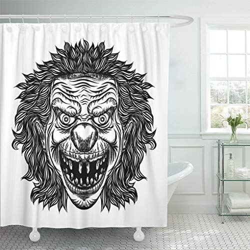 Semtomn Shower Curtain Black Creepy Evil Scary Clown Monster Big Nose Shower Curtains Sets with 12 Hooks 72 x 72 Inches Waterproof Polyester Fabric ()