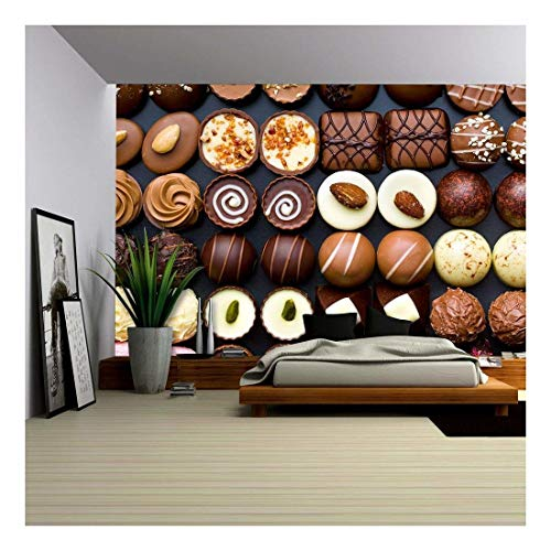 - wall26 - Top View of Variety Chocolate Pralines - Removable Wall Mural | Self-Adhesive Large Wallpaper - 100x144 inches