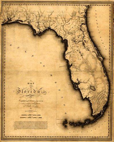 Antiguos Maps Canvas MAP of FLORIDA by Charles Vignoles circa 1823 - measures 24
