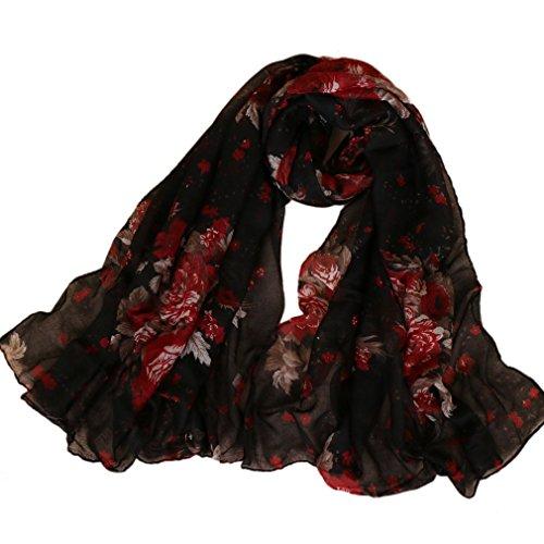 LMVERNA floral Scarves for women Fashion Flowers Print Voile cotton shawls Wrap spring Scarf (Cotton Voile Wrap)