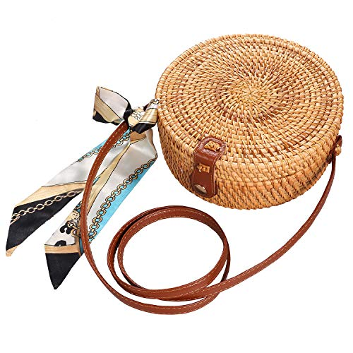 - Round Rattan Bags,Handwoven Straw Crossbody Handbag for Women with Shoulder Leather Strap