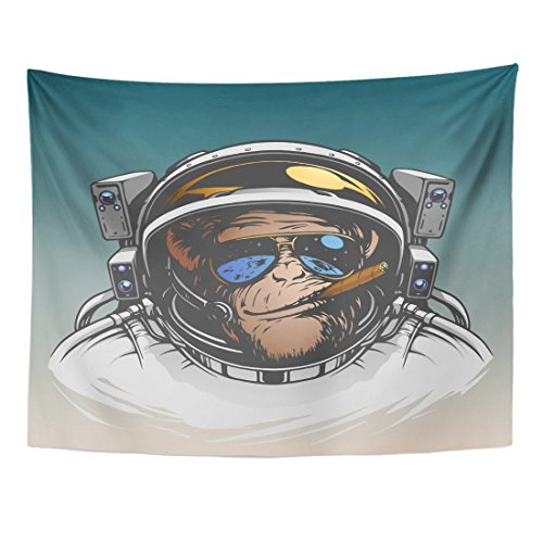 Emvency Tapestry Space Monkey Astronaut Cool Gorilla Spaceman Chimpanzee Home Decor Wall Hanging for Living Room Bedroom Dorm 60x80 inches ()