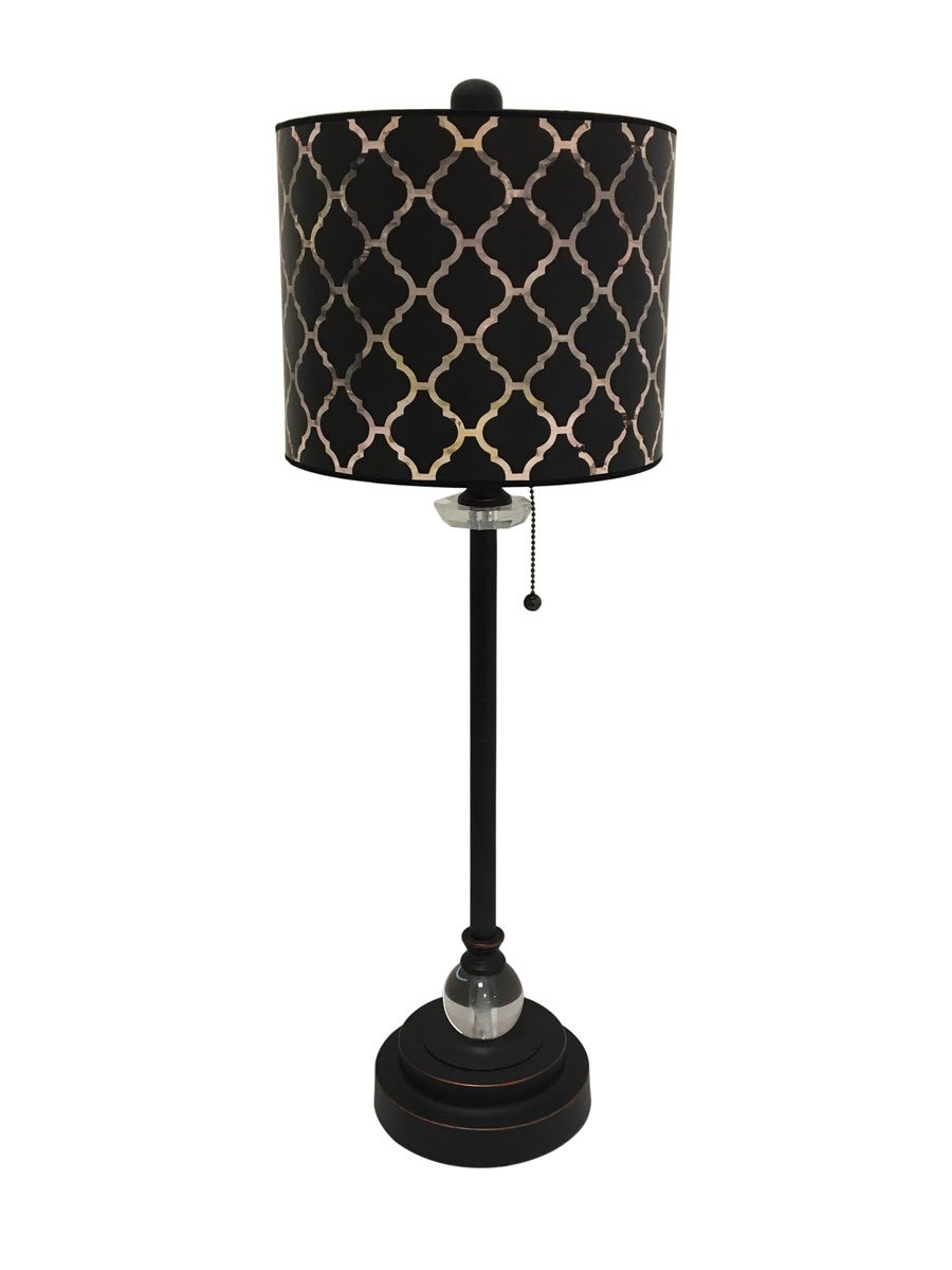 Royal Designs 28'' Crystal and Oil Rub Bronze Buffet Lamp with Black Moroccan Tile Design Hardback Lamp Shade