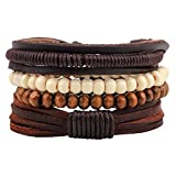 Winter's Secret Four-piece Suit Wood Beaded Adjustable Tibetan Brown Hand Braided Leather Wrap Bracelet