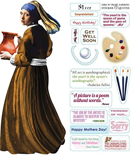 Johannes Vermeer Girl with Pearl Earring Quotable Notable - Die Cut Silhouette Greeting Card and Sticker Sheet ()