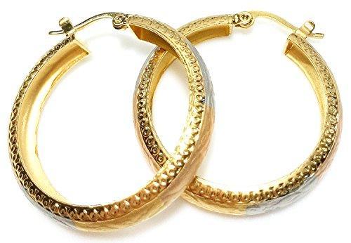 Bijoux De Ja Vintage Tri-Color Tone Embossed Round Hoop Earrings (30 mm.)