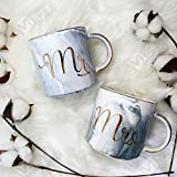 Coffee Mugs with MR & MRS in Gold foil lettering and gold handleHolds 11.5 ozMade of ceramic