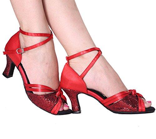 Zapatos GUOSHIJITUAN Baile Baile De Tango Rojo Zapatos Blando Piel S Salsa Baile De Fondo Mujer Alto A Social Tacón De Zapatos Latino tZqrtw