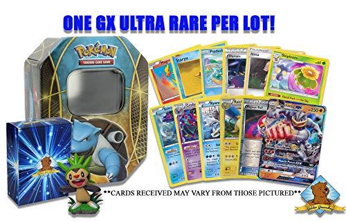 100 Pokemon Card Lot - 1 GX Ultra Rare - Rares - Holo Rare - Foils - 1 Pokemon Collectible Figure Comes in Pokemon Tin! Includes Golden Groundhog Deck Box!