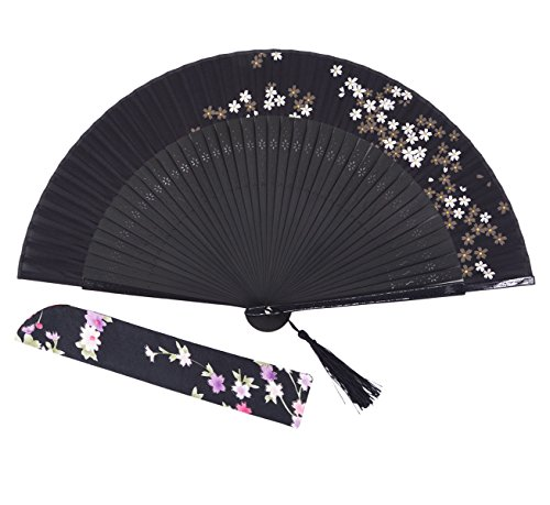 Amajiji Charming Elegant Modern Woman Handmade Bamboo Silk Folding Pocket Purse Hand Fan.Chinese /Japanese Vintage Retro Style JNSZ(22cm) (009)