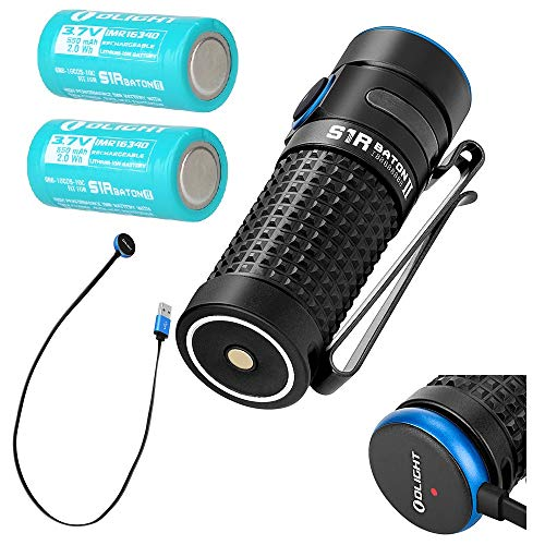 2 batteries bundle Olight S1R II Baton Generation II 1000 Lumen Compact Rechargeable LED Flashlight with two customized IMR16340 Battery, Magnetic Charging Cable (MCC II) and LegionArms Sticker (The Power Of Positive Thinking In Hindi)