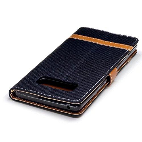 LEMORRY Samsung Galaxy Note8 Custodia Pelle Cuoio Flip Portafoglio Borsa Sottile Bumper Protettivo Magnetico Morbido Silicone TPU Cover Custodia per Samsung Note8, Stile del Denim Nero