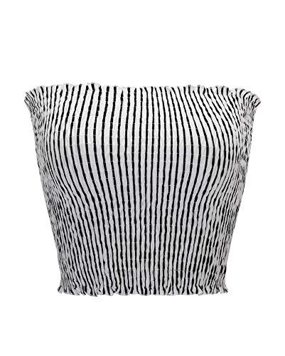 - KalyChic Womens Summer Casual Strapless Pleated Print Bandeau Tube Crop Tops V-Stripe_White L