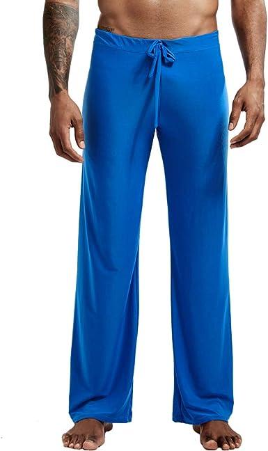 BYWX Men Pajama Nightwear Ice Silk Elastic Waist Print Lounge Shorts