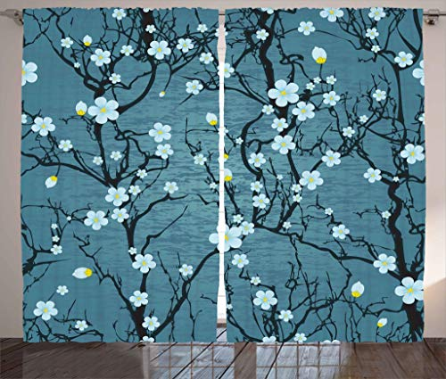 """Ambesonne Floral Curtains, Sakura Tree Branches Pale Japanese Cherry Blossom Spring Form, Living Room Bedroom Window Drapes 2 Panel Set, 108"""" X 90"""", Blue"""