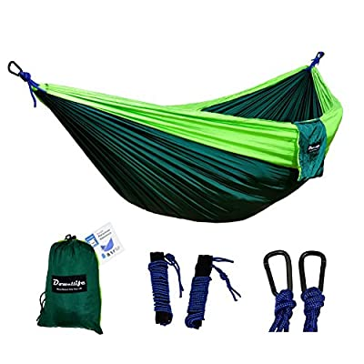 "Dowellife Double Parachute Camping Hammock- Lightweight Nylon Outdoor Portable Hammock for Backpacking, Camping, Hiking, Travel, 118""x78"",2x16.4 Feet Ropes and Tree Straps included"
