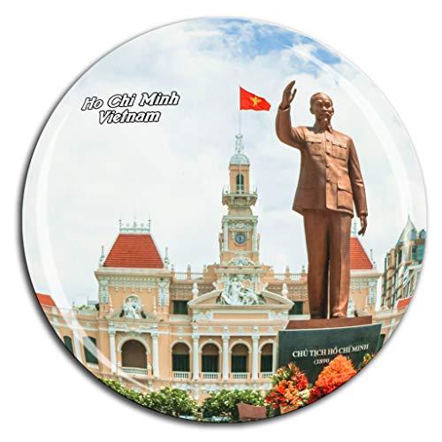 (Ho Chi Minh City Hall Vietnam Fridge Magnet 3D Crystal Glass Tourist City Travel Souvenir Collection Gift Strong Refrigerator Sticker)