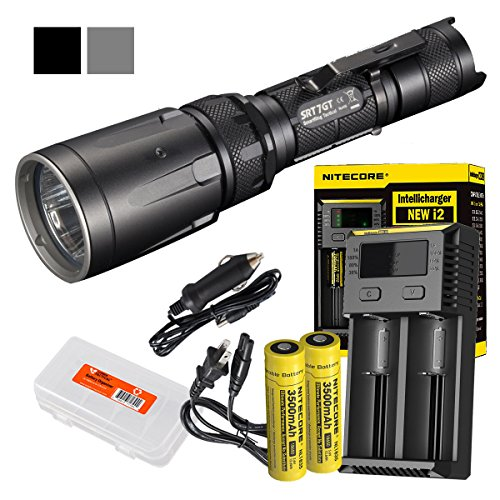 Ultimate Bundle: Nitecore SRT7GT 1000 Lumens Smart Ring Tactical Flashlight with Two High Capacity 3500mAh 18650 Batteries, I2 Charger and LumenTac Battery Organizer