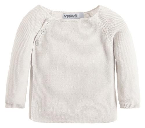 Noppies Unisex - Baby Strickjacke U Cardigan Knit Ls Pino, Einfarbig, Gr. 74, Weiß (White C001)