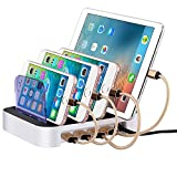 Premium Electronic Charging Station 4 USB Ports Docking Station & Excellent Organizer With Fast Battery Charger - Fits Cell Phones, Tablets, Mobile Devices Including Apple, Samsung & Android