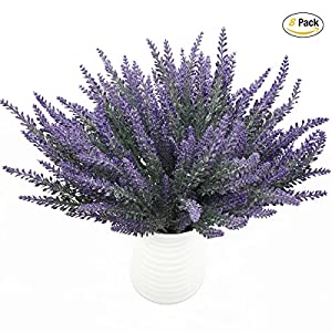 CATTREE Artificial Lavender, 8pcs Plastic Plants Lifelike Fake Flowers Bouquet Home Bridal Wedding Office Party Garden Balcony Indoor Outdoor DIY Wreath Centerpieces Arrangements Decoration 28