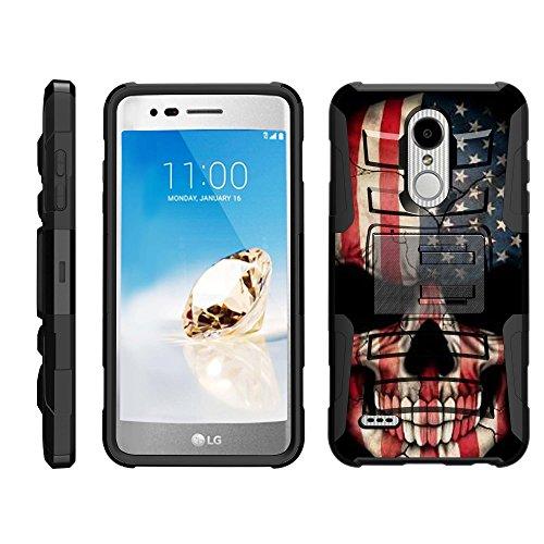 (TurtleArmor | Compatible for LG K30 Case | LG Premier Pro Case | K10 (2018) [Hyper Shock] Hybrid Dual Layer Armor Holster Belt Clip Case Kickstand - US Flag)