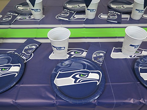Seattle Seahawks 49 pieces Party set, Tablecloth, 16 plate, 16 napkins and large plastic 16 -
