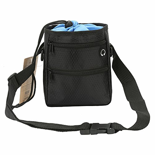 Dog Treat Pouch for Training - Easily Stores Pet Toys, Kibble, Treats - Built in Poop Bag Dispenser - Hands Free Puppy Walking Bag - 3 Ways to Wear - 2 Zipper Pockets w/ Earphone Hole & Drawstring