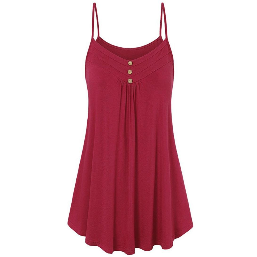 OldSch001® Women Shirt, Women's Plus Size Loose Red Summer Cami Tank Tops Vest (Red, 4XL)