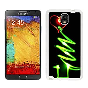 Personalization Red Heart Green Line Glow Christmas tree 1 White Silicone Case For Samsung Galaxy Note 3,Samsung N9005 Phon