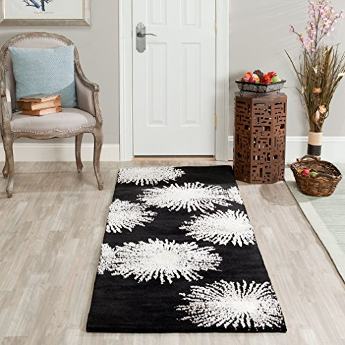 Safavieh Soho Collection SOH712D Handmade Fireworks Black and White Premium Wool Runner (2'6 x 6′)
