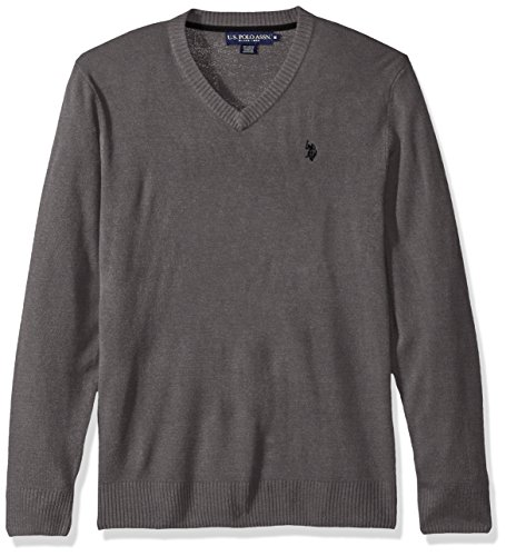 U.S. Polo Assn. Men's Solid V-Neck Sweater, Iron Heather, X-Large by U.S. Polo Assn.
