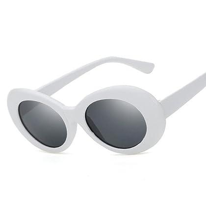 6cc9defb72 Creazrise Unisex Round Lens Clout Goggles Retro Oval Mod Thick Frame  Sunglasses for Men or Women (B)
