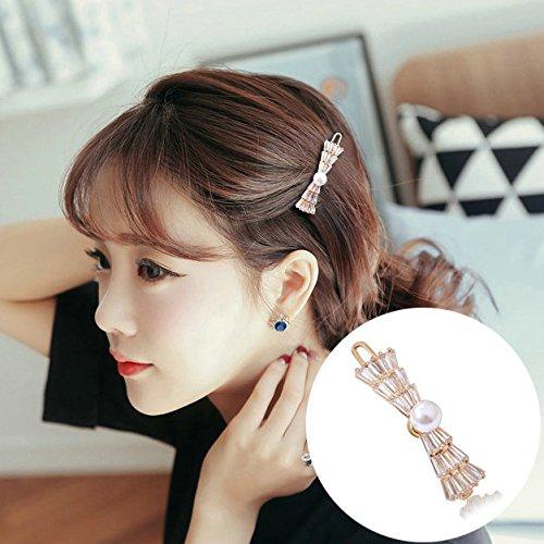(usongs micro-crystal diamond Zircon hairpin elegant Crown frog clasp imitation pearl word folder Liu beach clip)
