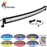 halo lights cars - Nicoko 52 Inch 300w Curved Led Light Bar with Chasing RGB halo ring for 10 Solid Color Changing with Strobe Flashing Modes Spot Flood Combo Beam IP67 waterproof Free wiring harness for Off road Truck