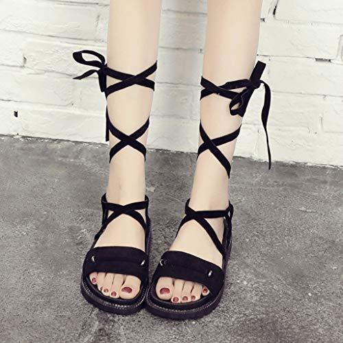 chaussures bout épais Amuster bout femmes côtelé ouvert sport pour de velours à Sandales ouvert en et à 40qwatR