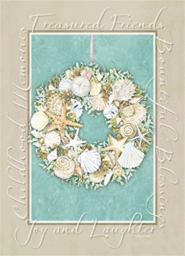 18 Christmas Cards and Envelopes, Starfish Wreath