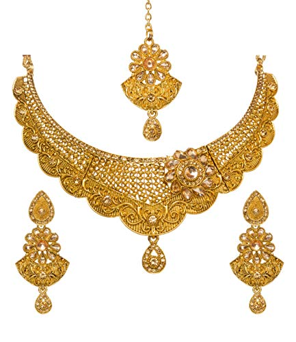 Bindhani Indian Jewelry Wedding Party Wear Bridal Bridemaids Antique Crafted Gold Plated Kundan Choker Necklace Earrings Tikka Set Designer Bollywood Style Jewellery Tika Set for Women ()