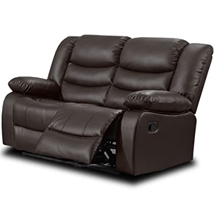 Belfast Dark Brown Leather Reclining Sofa Range (All combinations  available) (2 Seater Sofa)