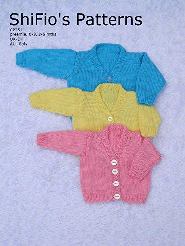 Iii V-neck - Knitting Pattern - KP251 - baby v neck cardigans - preemie, 0-3mths, 3-6mths