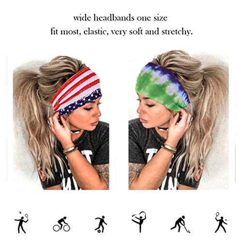 Earent Boho African Headbands Yoga Wide Knot Hair Bands Sweat Printed Headwraps Elastic Turban Headscarfs Multicolor Headwear Outdoor Hair Accessories for Women and Girls (Fashion Pattern)