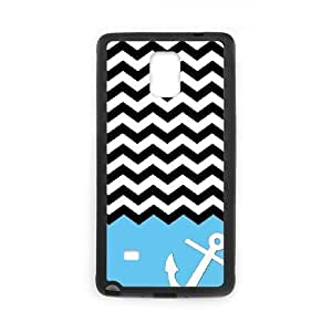 Blue Chevron Anchor Shell Phone for samsung galaxy note4 Black Cover Phone Case [Pattern-5]