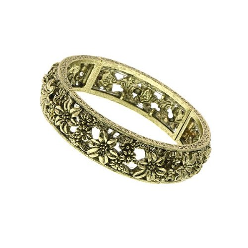 1928-jewelry-antiqued-gold-tone-floral-stretch-bracelet