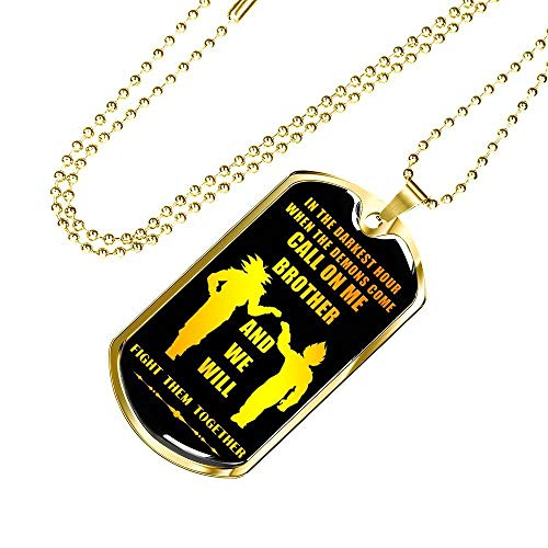 Awesome Call On Me Brother Meaningful My Brother Dog Tag Necklace Chain - Dragon Ball Super Son Goku & Vegeta, Friends Birthday Gifts Ideas for Men Boys