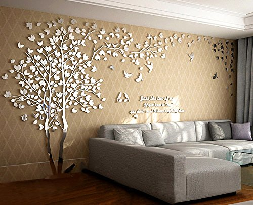 N.SunForest 3D Crystal Acrylic Couple Tree Wall Stickers Silver Self-Adhesive DIY Wall Murals Home Decor Art - X-Large by N.SunForest (Image #5)
