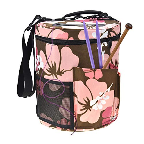 Woolen Yarn Storage Bag Portable Tote Light and Easy to Carry Pockets Accessories Organizer organizing with Shoulder Strap Home as Crossbody Print Large-Sized Cylinder by sweetyhomes (Image #2)