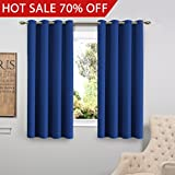 Light Blocking Curtains FlamingoP Living Room Curtains, Light Blocking Solid Pattern Drape, Noise Reducing, Grommet Top, Two Panels 63 by 52 inch -Royal Blue
