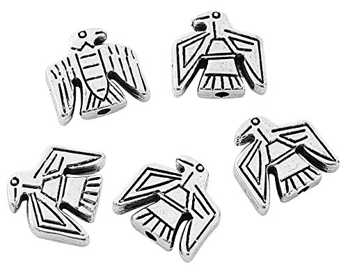 Native American Inspired Eagle Tribal Spacer Beads, 50 Pack Wholesale Lot, 1.6mm Hole, Silver Tone