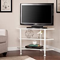 Southern Enterprises Jaymes Glass Top Metal Corner TV Stand in White